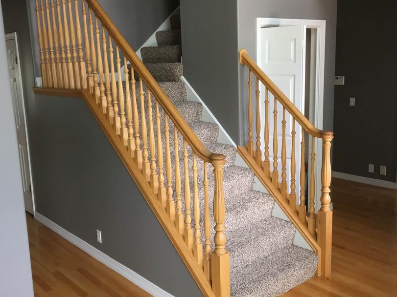 brown railing before banister refinishing in salt lake city ut