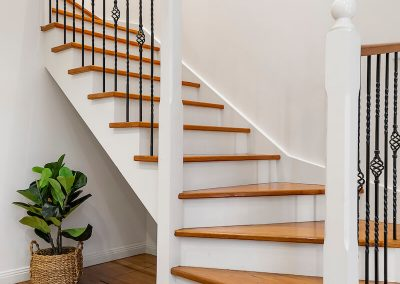 white refinished banister in salt lake city home