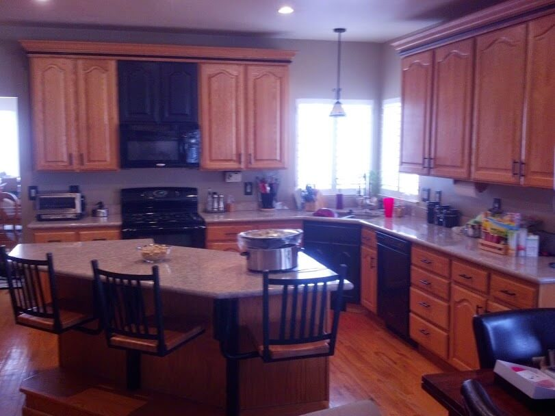 brown cabinets before cabinet refinishing in sandy ut